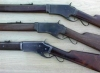 Left view of 1st, 2nd and 3rd model Burgess rifles - Manufactured from late 1878 to early 1880. Total production estimated at less than 2000 rifles and carbines.